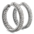 3.27ct Diamond 18k White Gold Hoop Earrings