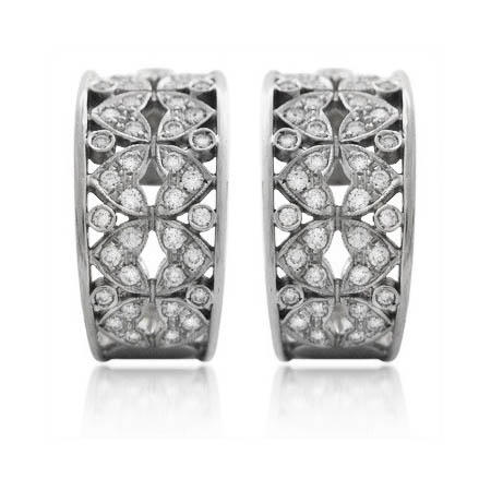 .83ct Diamond Antique Style 18k White Gold Earrings