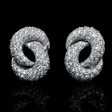 3.28ct Garavelli Designer Diamond 18k White Gold Cluster Earrings