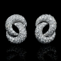 Garavelli Designer Diamond 18k White Gold Cluster Earrings