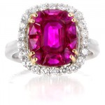Le Vian Diamond and Ruby 18k Two Tone Gold Ring