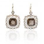 Diamond-and-Smokey-Topaz-14k-Yellow-Gold-and-Black-Rhodium-Dangle-Earrings