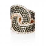 Diamond 14k Rose Gold and Black Rhodium Ring