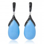 Diamond-and-Turquoise-18k-White-Gold-Dangle-Earrings