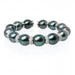 Diamond and Tahitian Pearl 18k White Gold Bangle Bracelet