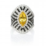 Diamond and Yellow Sapphire 18k White Gold Ring