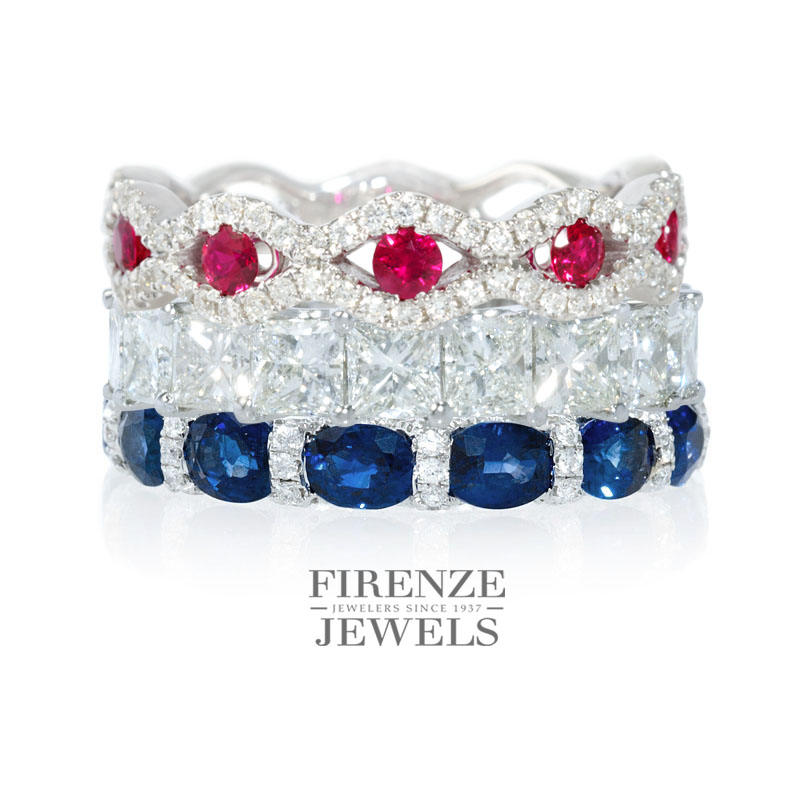 Happy Fourth of July Diamond Ring Stack