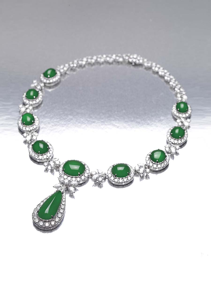 Jadeite Cabochon Diamond Necklace