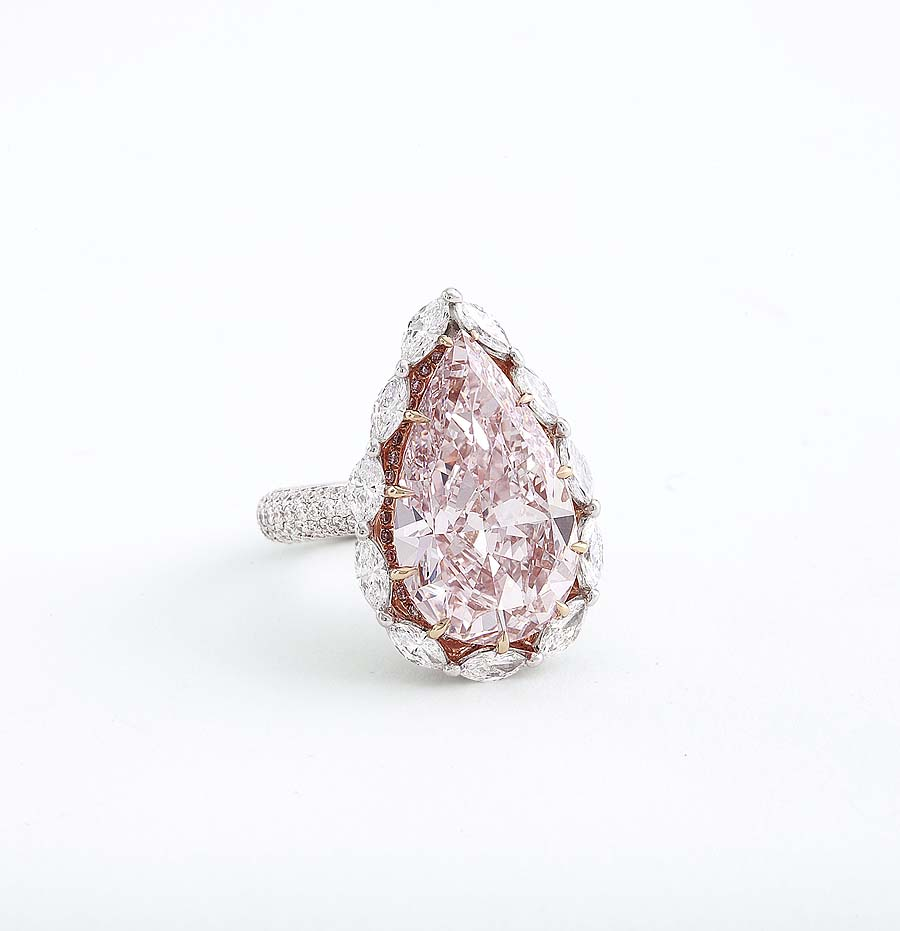 Pear Shaped Fancy Light Pink Diamond and Diamond Ring