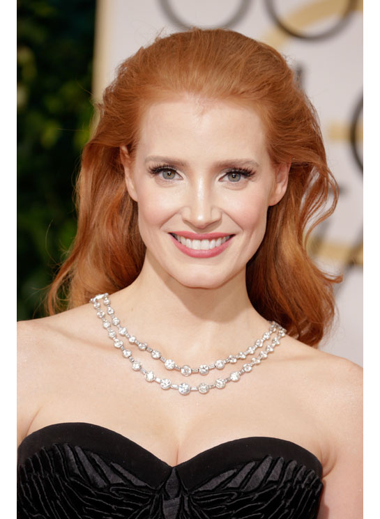 golden globes 2014 jessica chastain diamond necklace