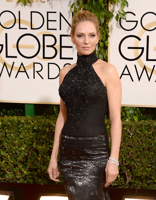golden globes 2014 uma thurman diamond earrings