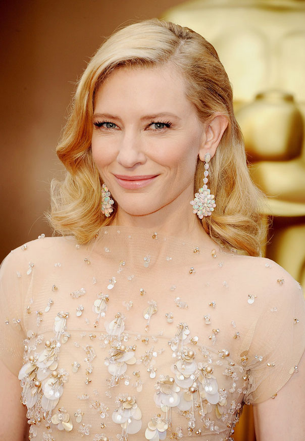 Cate Blanchett diamond opal earrings at Oscars 2014