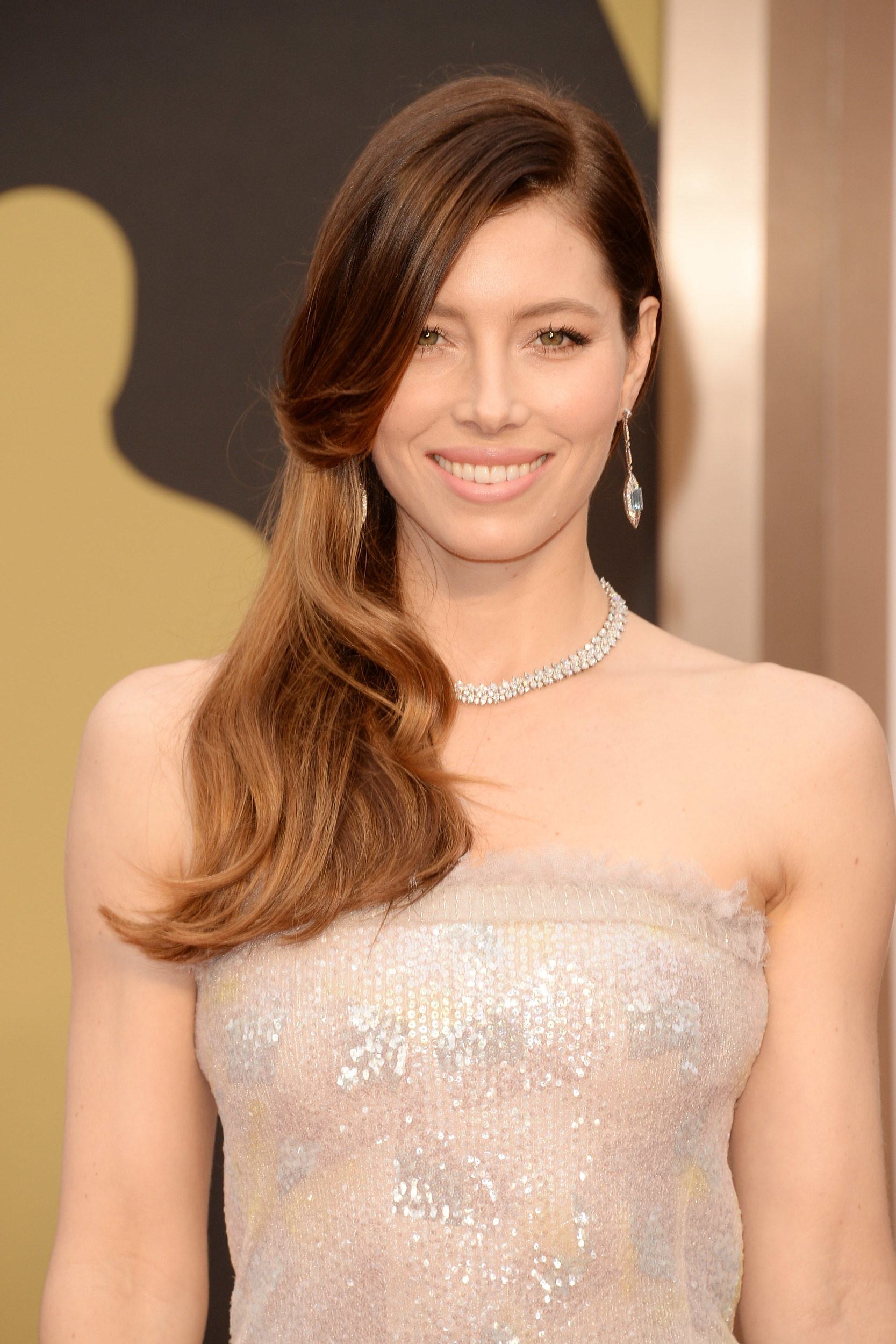 Jessica Biel diamond jewelry at Oscars 2014