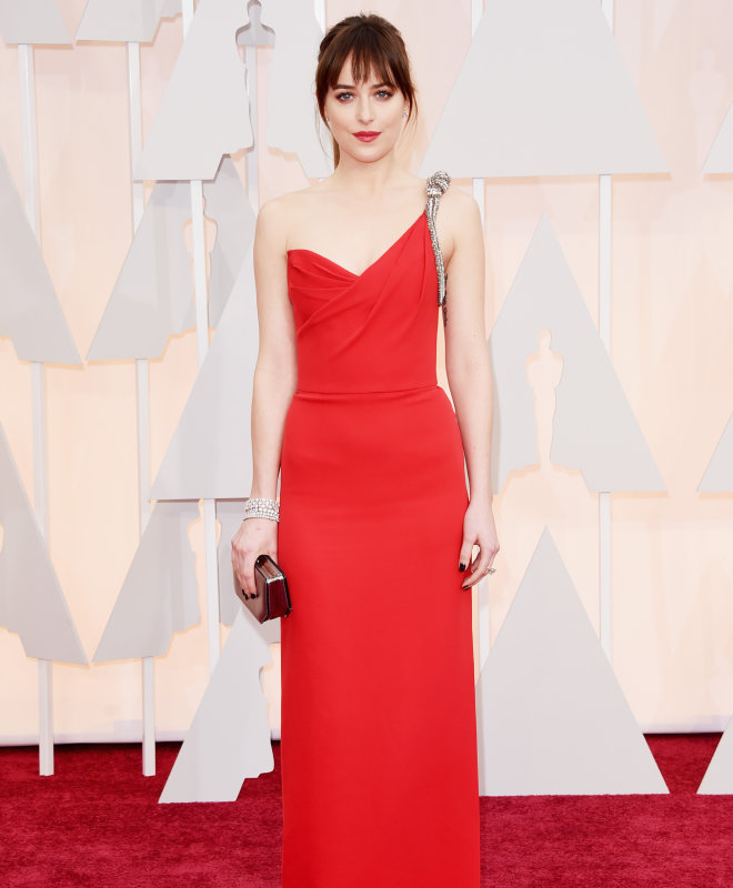 Dakota Johnson Oscars 2015 diamonds
