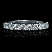 Diamond .82 Carat 18k White Gold U Prong Wedding Band Ring