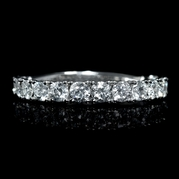 Diamond Round Brilliant Cut 18k White Gold Wedding Band Ring
