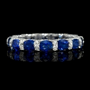 Diamond and Blue Sapphire 18k White Gold Eternity Wedding Band Ring