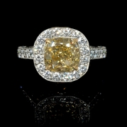 GIA Certified Diamond Antique Style Platinum and 18k Yellow Gold Engagement Ring