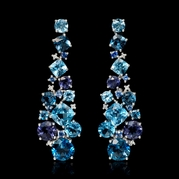 Diamond Blue Sapphire Blue Topaz Iolites 18k white gold dangle earrings