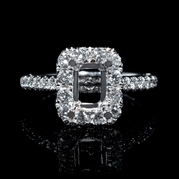 Diamond 18k White Gold Halo Engagement Ring Setting