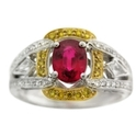 Simon G Diamond and Ruby Antique Style 18k Two Tone Gold Ring