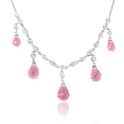 Diamond and Pink Quartz Antique Style 18k White Gold Necklace