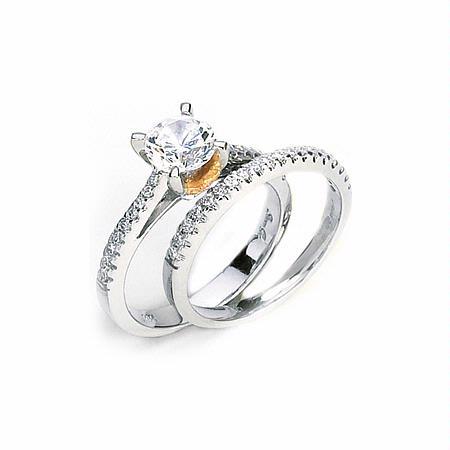 34ct Simon G Diamond Platinum 18k Pink Gold Engagement Ring Setting And Wedding Band Set
