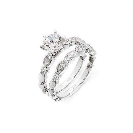 56ct Simon G Diamond Antique Style Platinum Engagement Ring Setting And Wedding Band Set