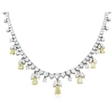 Diamond 18k Two Tone Gold Graduated Necklace