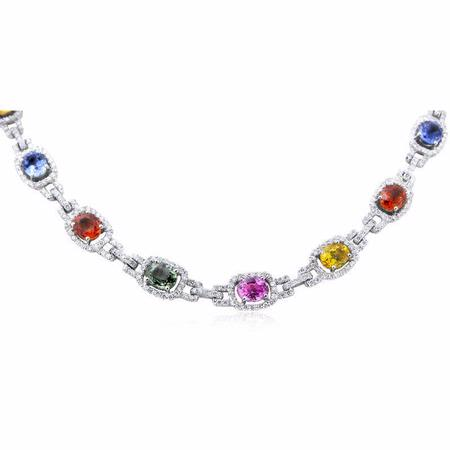 4.66ct Diamond & Sapphire 18k White Gold Necklace