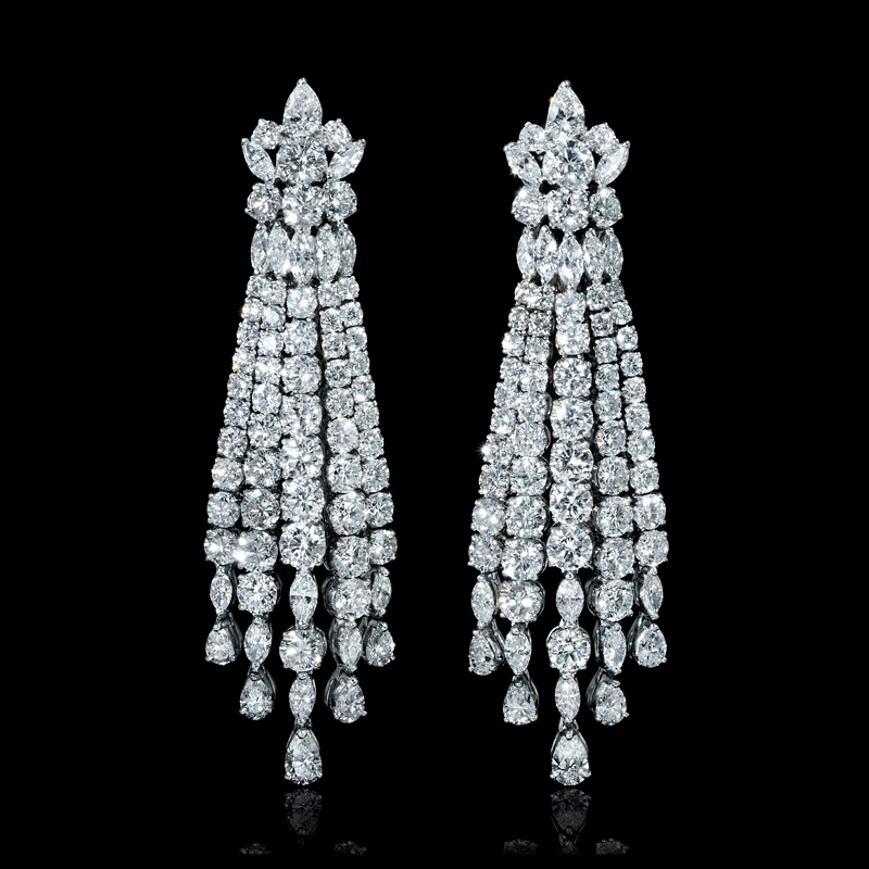 ct Diamond 18k White Gold Chandelier Earrings