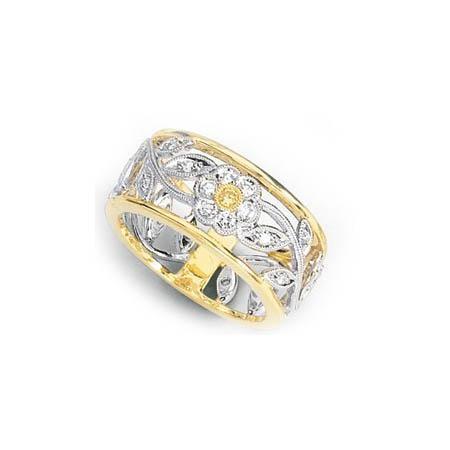 34ct Simon G Diamond Antique Style 18k Two Tone Gold Fl Wedding Band Ring