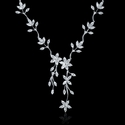 Diamond 18k White Gold Flower Necklace