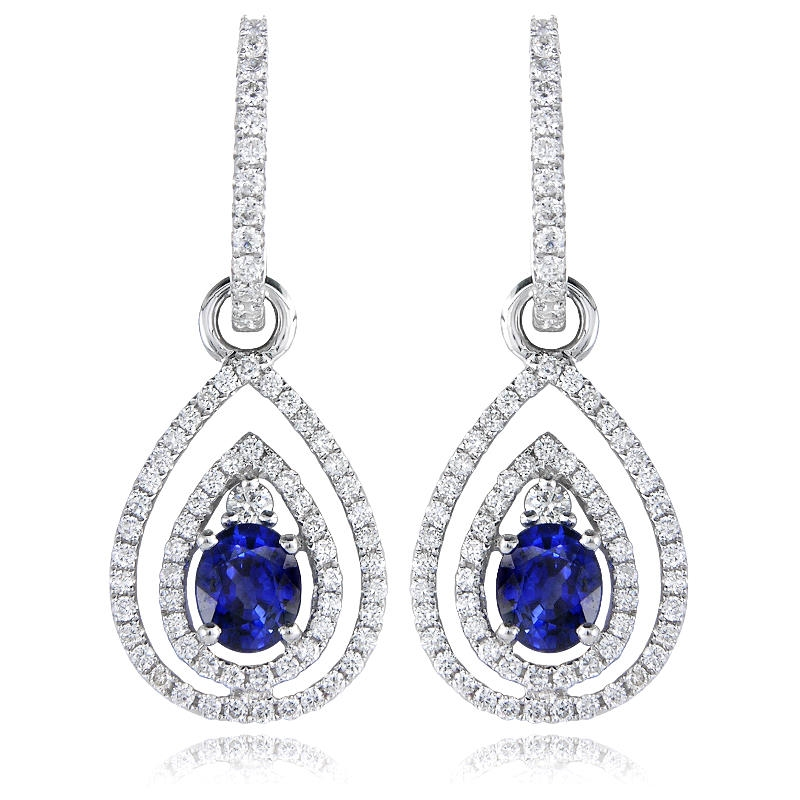 sapphire earrings with diamonds 79ct and blue sapphire 18k white gold dangle earrings 5645