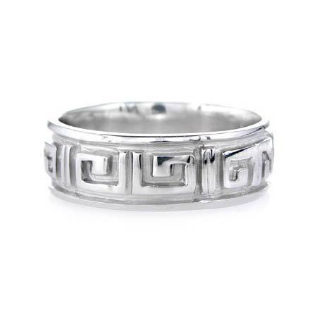 Men S 18k White Gold Greek Key Wedding Band Ring