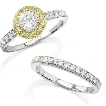 Diamond Antique Style 18k Two Tone Gold Halo Engagement Ring Setting And Wedding Band Set