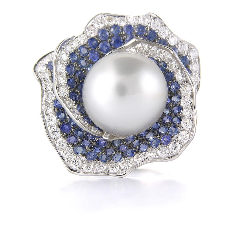 Unique 93ct Diamond, Blue Sapphire & Pearl 18k White Gold Ring MJ04