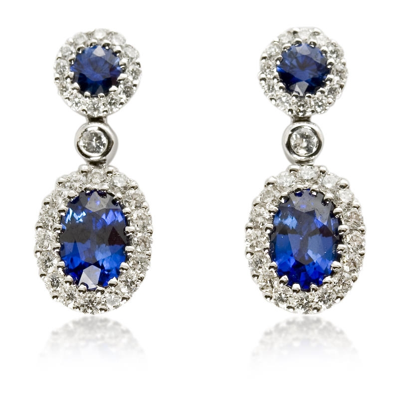 49ct Diamond and Blue Sapphire 18k White Gold Dangle Earrings