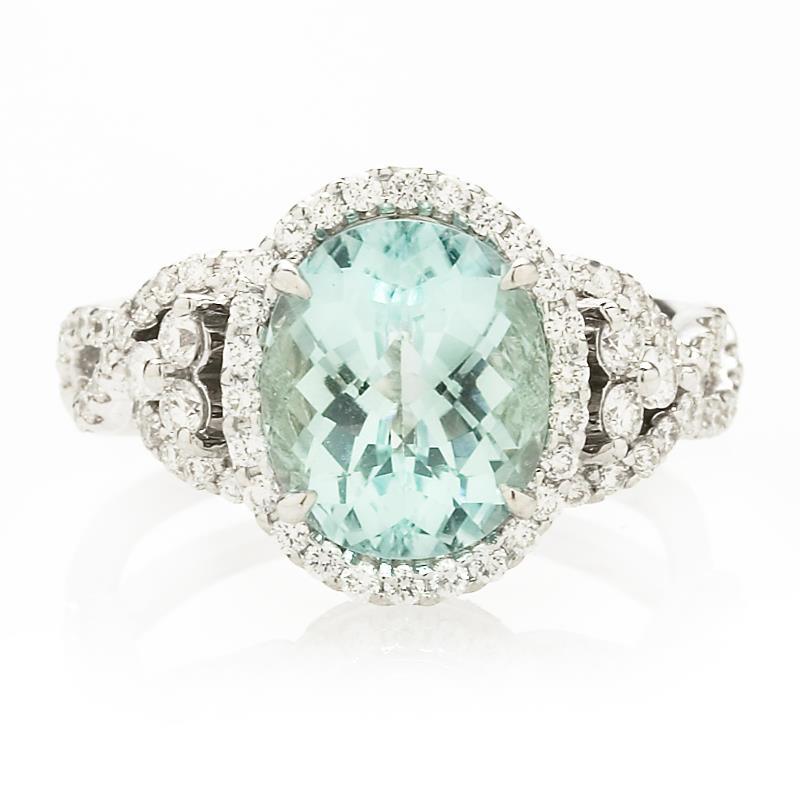 70ct Simon G Diamond Paraiba Tourmaline Antique Style 18k White Gold Ring