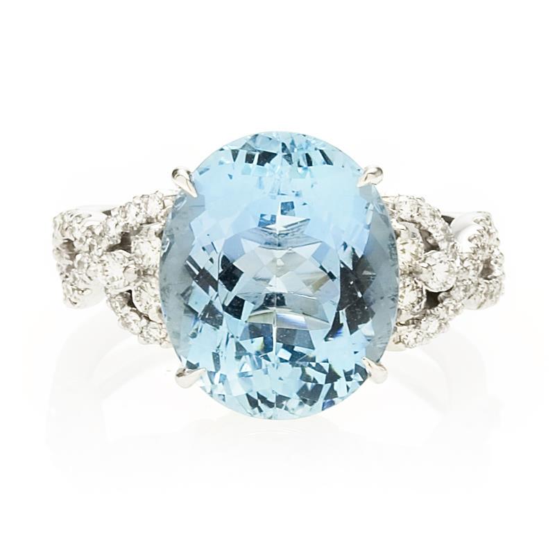 Very best 73ct Simon G Diamond and Aquamarine Antique Style 18k White Gold Ring WV16