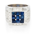 Leo Pizzo Diamond and Blue Sapphire 18k White Gold Ring