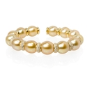 Diamond and Pearl 18k Yellow Gold Bangle Bracelet