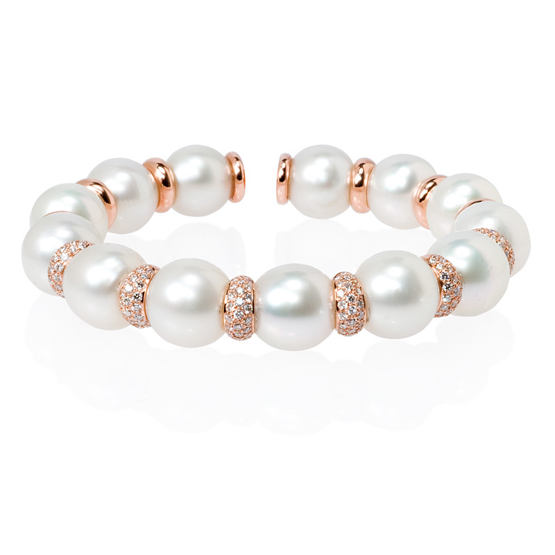 ct Diamond and Pearl 18k Rose Gold Bangle Bracelet