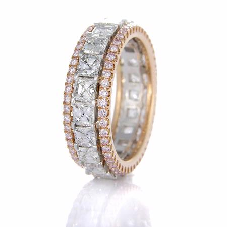 3 49ct Simon G Diamond Platinum And 18k Rose Gold Eternity Wedding Band Ring