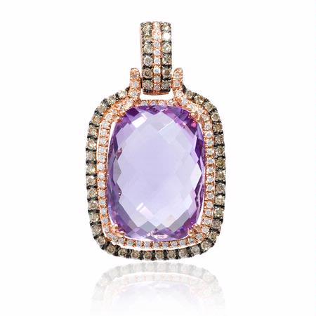 .72ct Diamond and Amethyst 14k Rose Gold Pendant