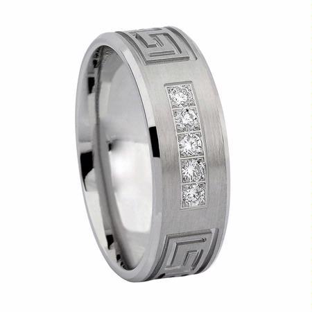 20ct Men S Diamond 14k White Gold Greek Key Wedding Band Ring