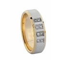 Men's Diamond 14k Two Tone Gold Wedding Band Ring