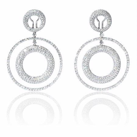 Diamond 18k White Gold Dangle Earrings