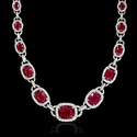 Diamond and Ruby 18k White Gold Necklace