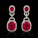 Diamond and Ruby 18k Two Tone Gold Dangle Earrings